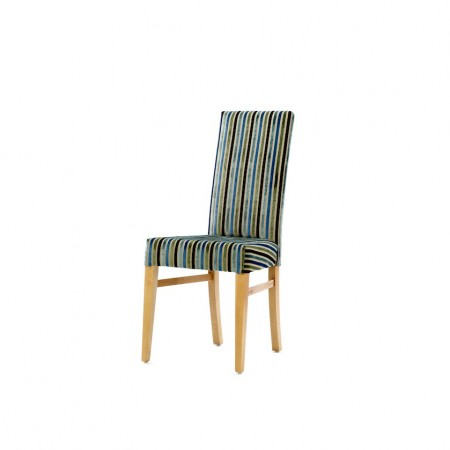 Enna High Back Contract Dining Chair in striped fabric