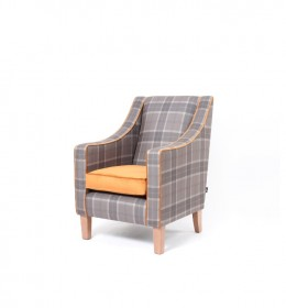 Rathlin comfortable high back contract lounge chair with raked back in contrasting check and orange fabric