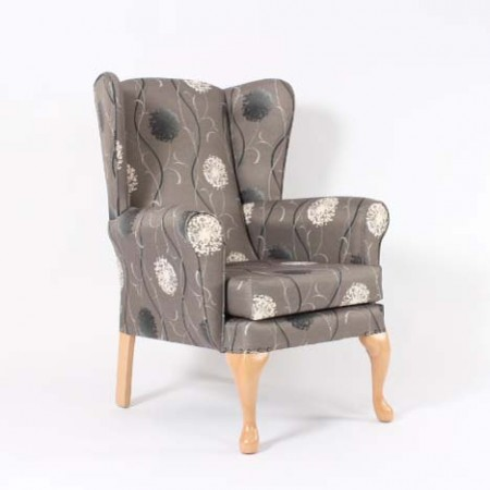 Queen Anne Care Home Chair, Floral Fabric - Alexander