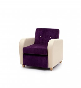 Brunswick retro design mid back lounge chair for care, residential and nursing homes - purple and cream fabrics