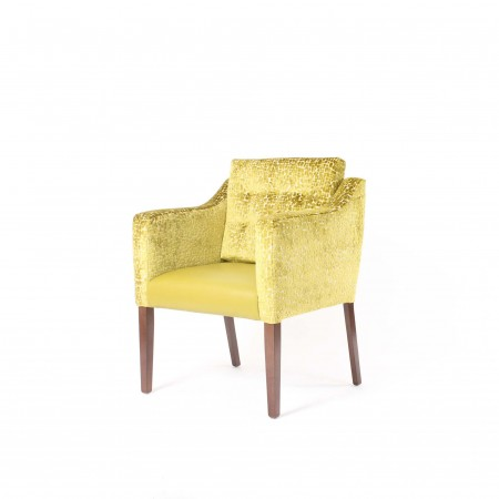 Barra wide care home tub chair with loose back button cushion in yellow fabric