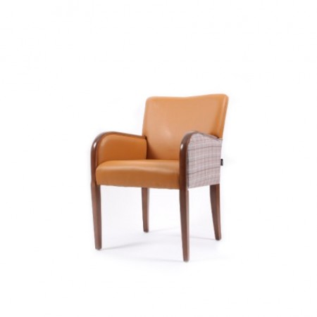 Matera contract tub chair for hotels, sports and social clubs and care homes with show wood, ideal dining arm chair - dual fabrics in tan and checked fabric