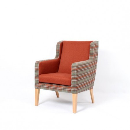 Arran Mid Back Comfortable Wide Lounge Chair For Contract Use In Hotels Or Care Homes - Check Fabric Outer with Rust Inner