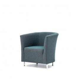 Jura metal leg, fixed seat,  tub chair for care homes, hotels, sports clubs and other contract use - green fabric