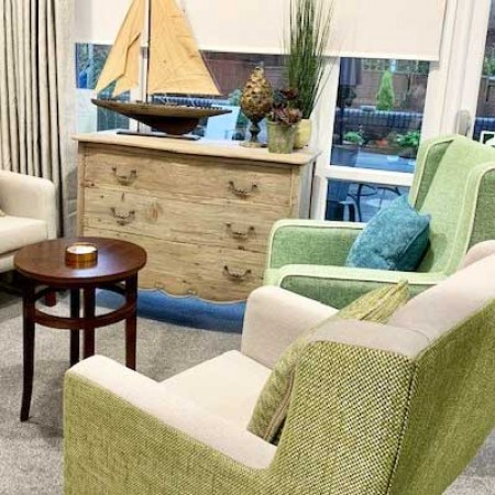 Arran High Back Generous Contract chair for in care home setting in green and yellow fabrics