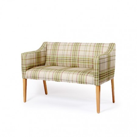 Care home and hotel bedroom 2 seater in plaid fabrics