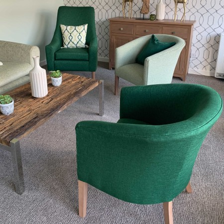 Classic Stratford tub chair for hotels, sports and social clubs, care homes and nursing homes in green fabric