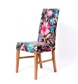 Enna High Back Contract Dining Chair in floral fabric