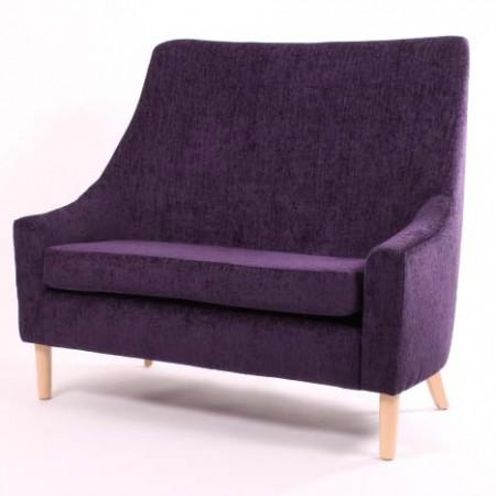 Rona high back 2 seater contract sofa in purple fabric