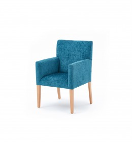 Kensington traditional care home tub chair in blue fabric
