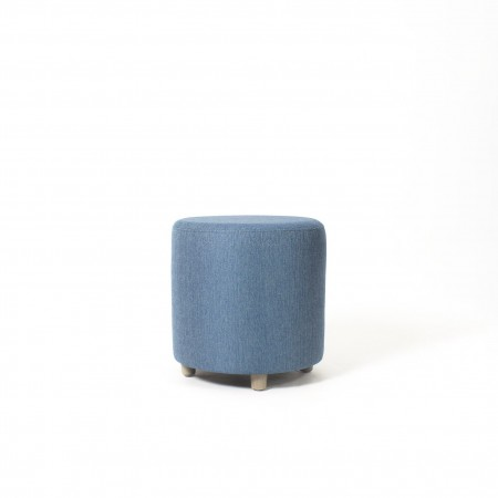 Care Home or Hotel Drum Stool for lounge or bedroom in blue fabric