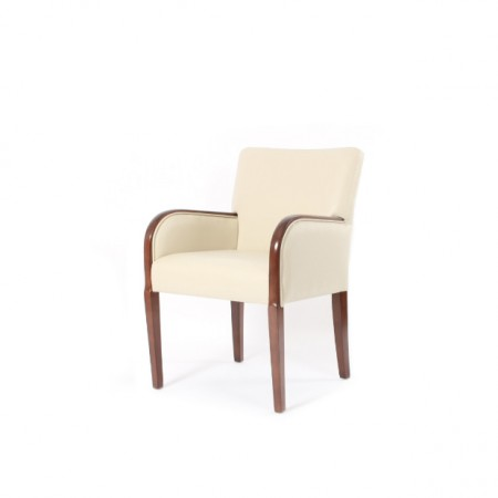 Matera contract tub chair for hotels, sports and social clubs and care homes with show wood, ideal dining arm chair - cream fabric with dark wood
