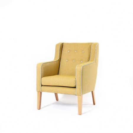 Arran Mid Back Comfortable Wide Lounge Chair For Contract Use In Hotels Or Care Homes - Yellow Fabric with Contrasting Buttons & Piping