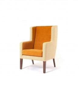 Arran Generous High Back Hotel Chair with wings in dual yellow fabrics