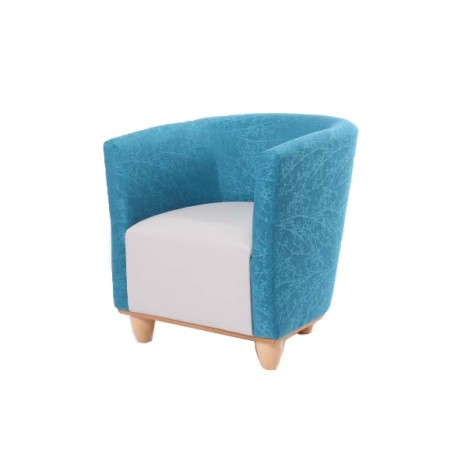 Jura tub chair for tough extreme environments such as challenging behaviour, autism accommodation, prisons - teal and cream