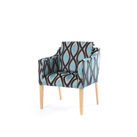 Barra wide care home tub chair with loose back cushion in geometric blue fabric
