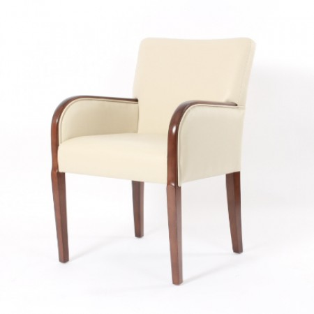 Matera contract tub chair with show wood, ideal dining arm chair - cream fabric with dark wood