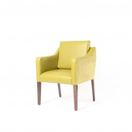 Barra wide care home tub chair with loose back cushion in dual yellow fabrics