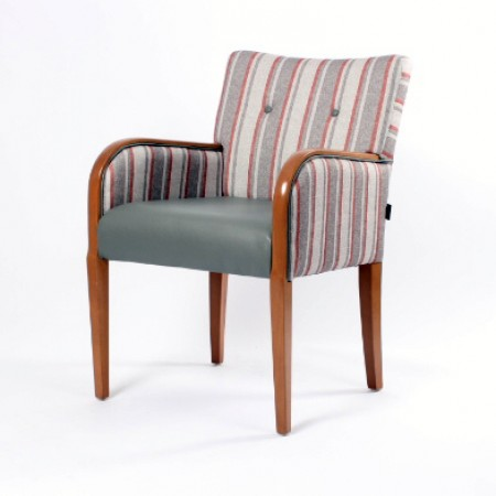 Matera contract tub chair with show wood, ideal dining arm chair - dual fabrics in grey and striped fabric