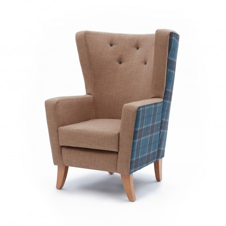 Lismore low back contract lounge chair for hotels or upmarket care homes in check and plain fabric with contrasting buttons