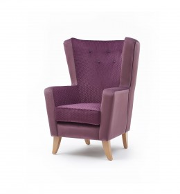 Lismore high back contract lounge chair for hotels or upmarket care homes in purple fabric