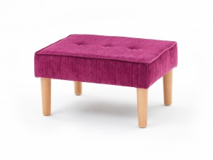 Large buttoned round, taper leg footstool