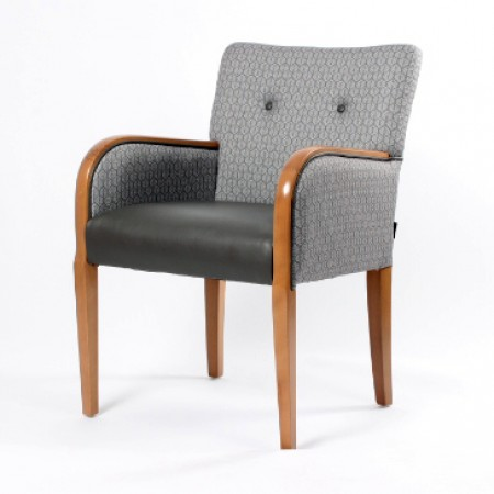 Matera contract tub chair with show wood, ideal dining arm chair - dual fabrics in grey