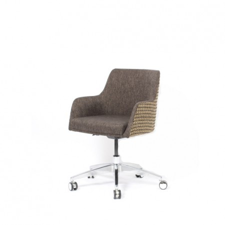 The Madison swivel tub with wheels is very compact, ideal as a desk chair, especially for small spaces such as hotel bedrooms - this one is in Sunbury Mayfair and Santos Graphite fabrics