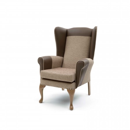 Alexander Queen Anne High Back Chair for care homes - Beige with headrest and armrests in vinyl