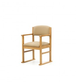 Oakdale care home dining chair with arms and skis covered in waterproof vinyl
