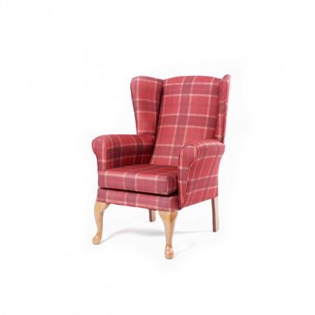 Alexander Queen Anne Care Home Chair - Plaid Check Fabric