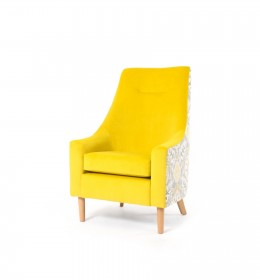 Rona high back, low arm contract lounge chair with stitching in yellow velvet with flowered back