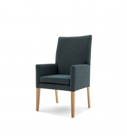 Kensington simple high back care home lounge chair without wings in plain teal fabric