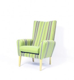 Abbey high back contract lounge chair - striped fabric