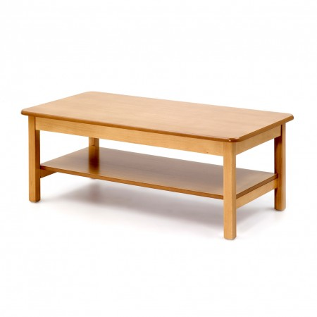 Low coffee table with shelf, rectangular