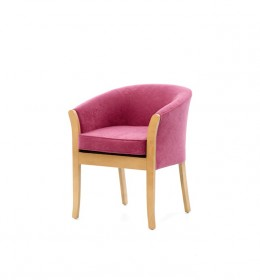 The Marlbough loose seat tub chair has show wood and is a great value-for-money chair for care homes and hotels