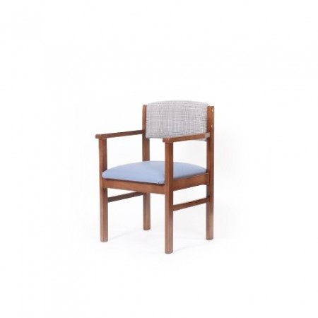 Oakdale care home dining chair with arms in dual fabrics - waterproof vinyl