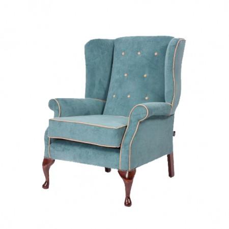 Blenheim Luxury Queen Anne Hotel Chair - Blue Velvet