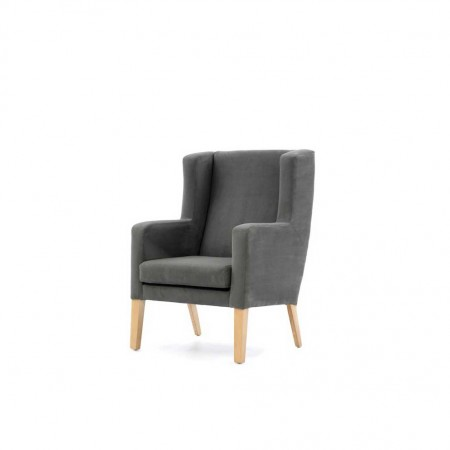 Arran Generous High Back Hotel Chair with wings in grey fabric