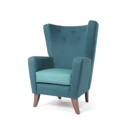 Lismore high back contract lounge chair for hotels or upmarket care homes in teal fabric