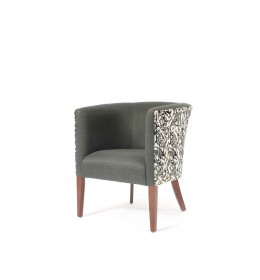 Luxury tub chair ideal for hotel lounges and reception areas or upmarket care homes in Sunbury Grego and Chester fabrics