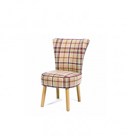Donato compact bedroom chair for care homes and hotels in check fabric