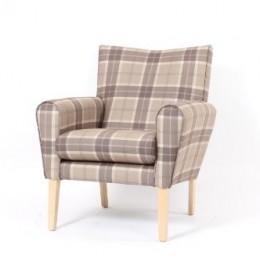 Abbey mid back lounge contract chair - check fabric