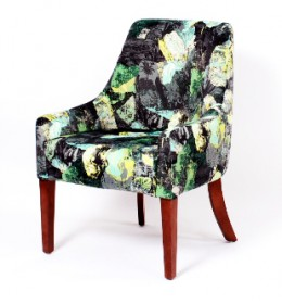 Rona contract tub chair in green abstract fabric