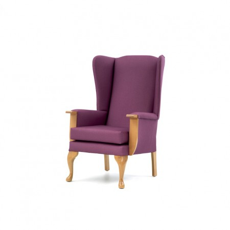 Cheshire lounge chair with show wood for residential care homes in purple fabric