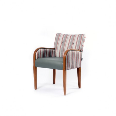 Matera contract tub chair for hotels, sports and social clubs and care homes with show wood, ideal dining arm chair - dual fabrics in grey and striped fabric