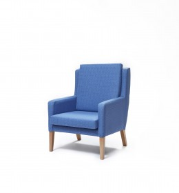 Colonsay high back generous bariatric chair for nursing homes and hospitals in blue fabric