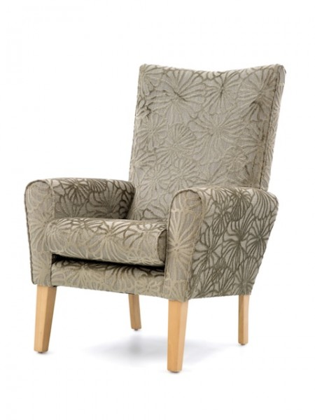 Abbey high back contract lounge chair - brown fabric