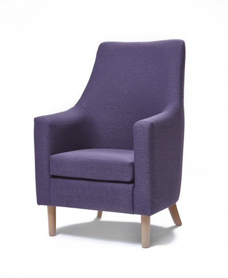 Rona high back, high arm contract lounge chair in purple fabric