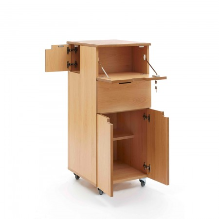 Hospital bedside locker - flap, side door, drawer, cupboard